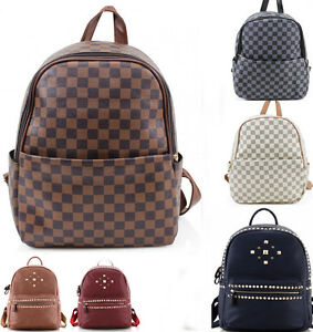 7553a7e34aae LARGE Women s Designer Two Tone Rucksack Bag Ladies Backpack Grab ...