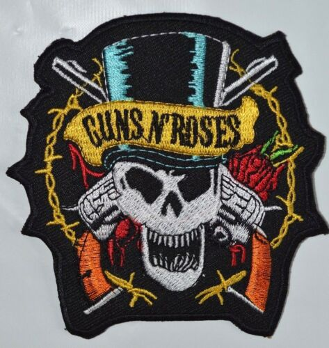 Guns and Roses Sew on or Iron on Patch Biker Rock Music Skull And Guns badge