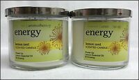 2 Bath Body Works Energy Lemon Zest Aromatherapy 3-wick Candle
