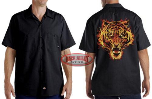 FLAMING TIGER Mechanics DICKIES Work Shirt M-3XL Bad Ass Big Cat Flames