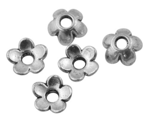 100 perles coupelles caps fleur gris  argent 6,5 x 6,5 mm NEUF