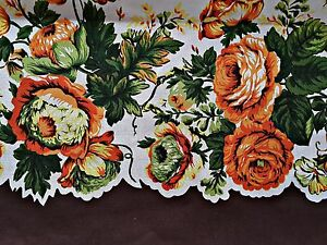 VINTAGE-FLORAL-ART-ROSES-BROWN-ORANGE-YELLOW-GREEN-COTTON-TABLECLOTH