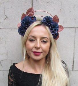 Rose Gold Navy Blue Flower Halo Fascinator Races Hair Headband ... 77142221d46