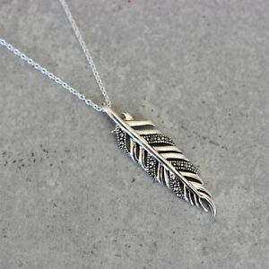Sterling Silver 925 Marcasite Feather Leaf Leaves Boho  Necklace Pendant 42+3cm