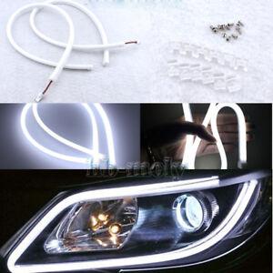 2Pcs-Luz-de-cejas-faros-delgada-practico-Auto-Tira-de-LED-DRL-40cm-6000K-Blanco