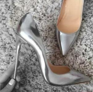 Womens-Stilettos-High-Heels-Pointed-Toe-Sexy-Party-Shiny-Pumps-Shoes-Sliver