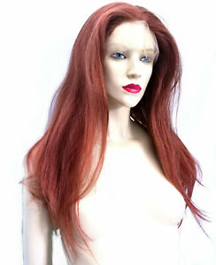 Auburn-Mix-Silk-Top-Remi-Remy-Full-Lace-Human-Hair-Wig-Straight-Custom-Color