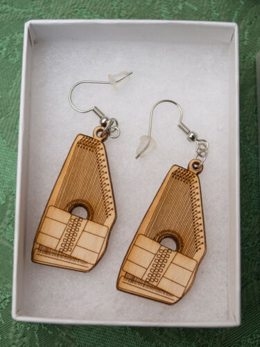 Details about  /Made-in-the-USA Laser-Cut Autoharp Birch Wood Earrings by Ray Strait