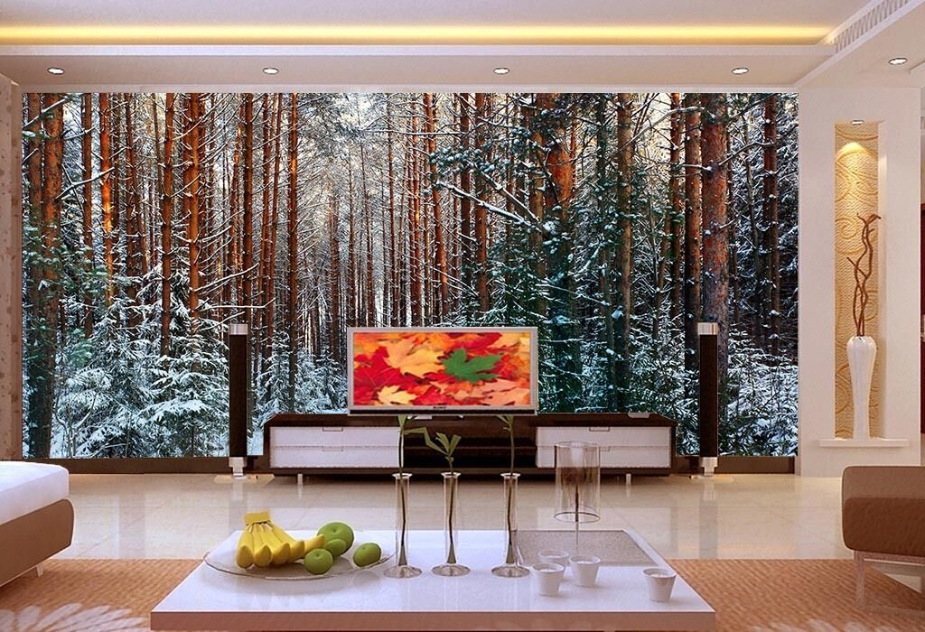 Huge 3D Snow Trees Wood Wall Paper Wall Print Decal Wall Deco Indoor Murals Wall