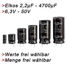 ELKO Kondensatoren 2,2µF bis 4700µF uF + 6,3V - 50V Elkos Radial Elektrolyt 105