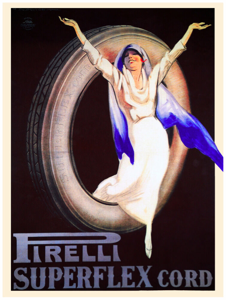 7848.Pirelli superflex cord.woman coming out of tire.POSTER.art wall decor