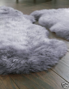 Image Is Loading Origin Authentic Australian Grey Sheepskin Wool Rug Single