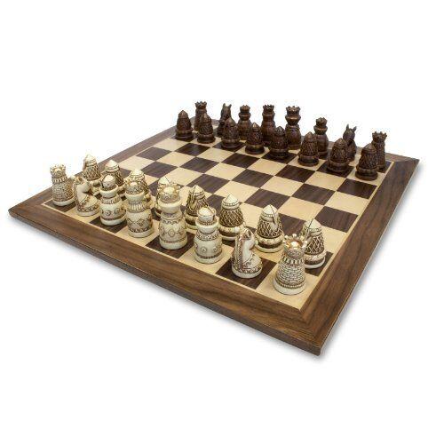 Jeux médiévaux Chess Set Polystone morceaux à effet vieilli en bois Board 15 in (environ 38.10 cm)
