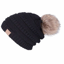item 2 US Womens Beanie Trendy Oversized Hat Thick Solid Cable Knit with  Pom Pom Cap -US Womens Beanie Trendy Oversized Hat Thick Solid Cable Knit  with Pom ... f545496a8c12