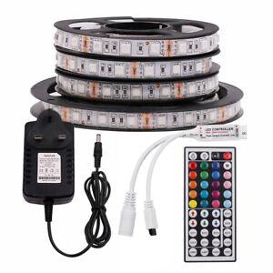 12V-5m-5050-White-RGB-RGBW-LED-Strip-Light-Lamp-Controller-Kit-Waterproof