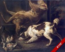 CATS & DOGS FIGHT FIGHTING OVER DEAD BIRD ANIMAL PAINTING ART REAL CANVAS PRINT