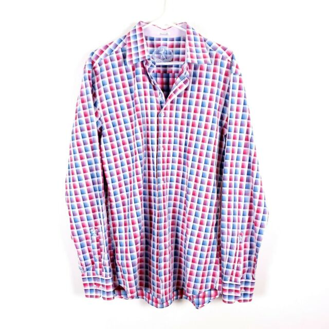 NWOT BUGATCHI XL Button Plaid Dress Shirt Pink White Blue Embroidered Shaped Fit