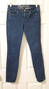 MADEWELL womens size 27 skinny low rise dark whisker wash stretch denim jeans