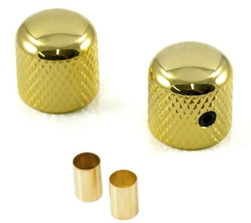 """SET OF 2 FENDER TELECASTER STYLE TELE GUITAR DOME KNOBS GOLD *NEW* 1//4/"""" 6MM"""