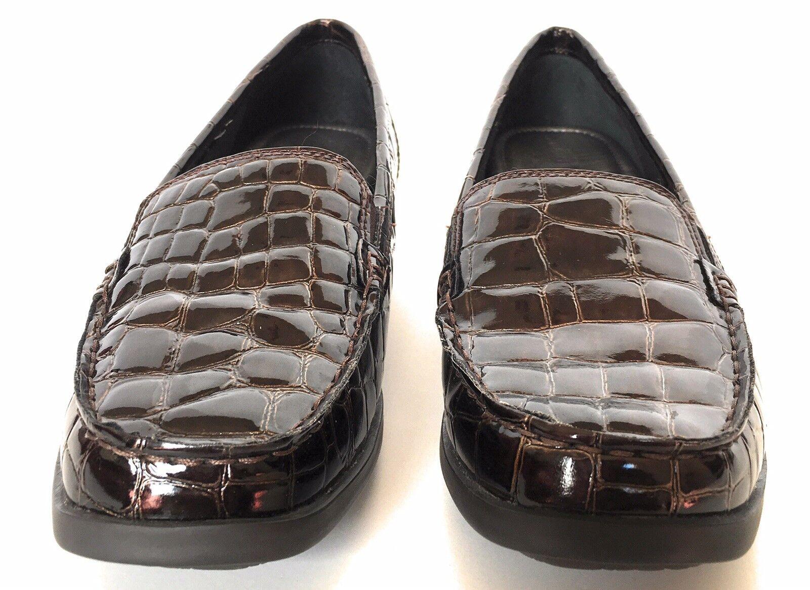 Aravon Whitney mocasines antideslizante en mocasines Whitney zapatos para mujer estampado de cocodrilo negro Talla 9b Nuevo En Caja  109.99 f9d6f7