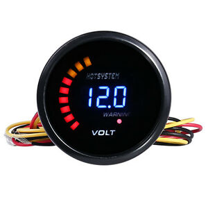 """HOTSYSTEM Black 2/"""" 52mm Blue Digital LED Electronic Volt Gauge Meter For Car"""