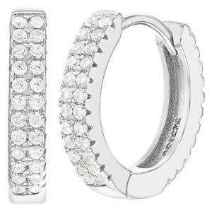 0bee2fb5c9803 Details about 925 Sterling Silver Clear Cubic Zirconia Huggie Hoop Earrings  for Women 0.59