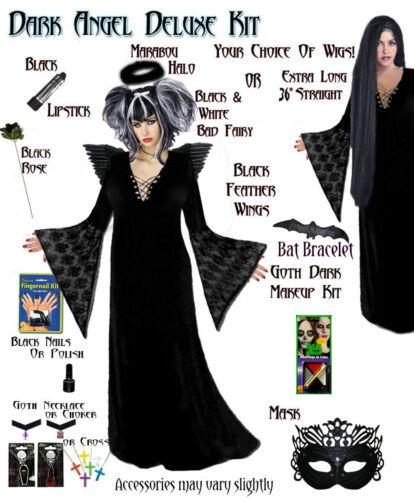 8x Black Gothic Dark Fallen Angel Dark Fairy Plus Size Halloween Costume NEW 1x