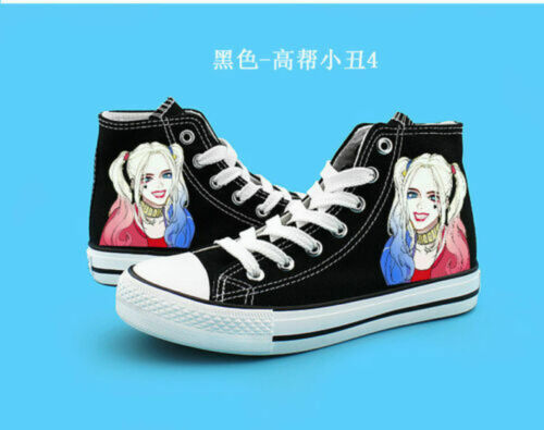 Hot Suicide Squad Harley Quinn Joker Canvas Shoes Casual Sneakers