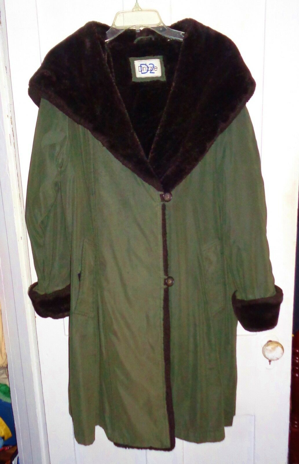 Women's D2 Drizzle Women's Olive Green Coat Water Resistant Faux Fur Lined Large