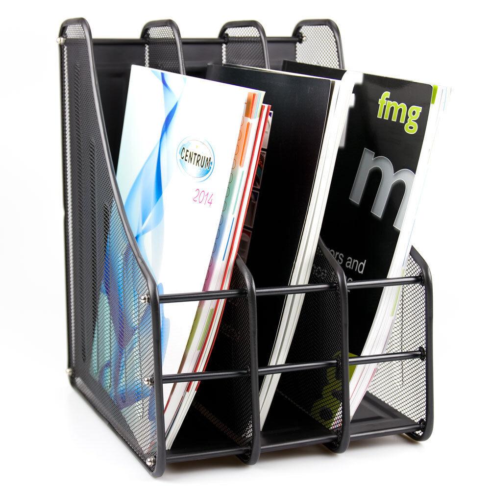 3-Tier Metall Mesh Datei Rack Organizer Fach Papier Dokument Halter Schwarz