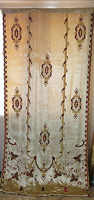 Embroidered Versaille ready made drape Velvet lined Butter Lined Curtain
