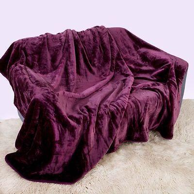 Silver// Dark Shade Soft Faux Fur Mink Throw Sofa Bed Blanket XL 200cmx240 cm