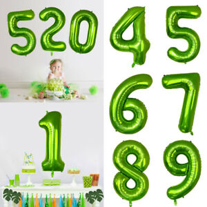40-034-Number-Foil-Balloons-Birthday-Party-Wedding-Decor-Supply-Air-Baloons-Green