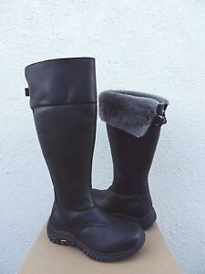 4d48b5f5a3f Details about UGG BLACK TALL MIKO WATERPROOF LEATHER SHEEPSKIN SNOW BOOTS,  US 7.5/ 38.5 ~NEW