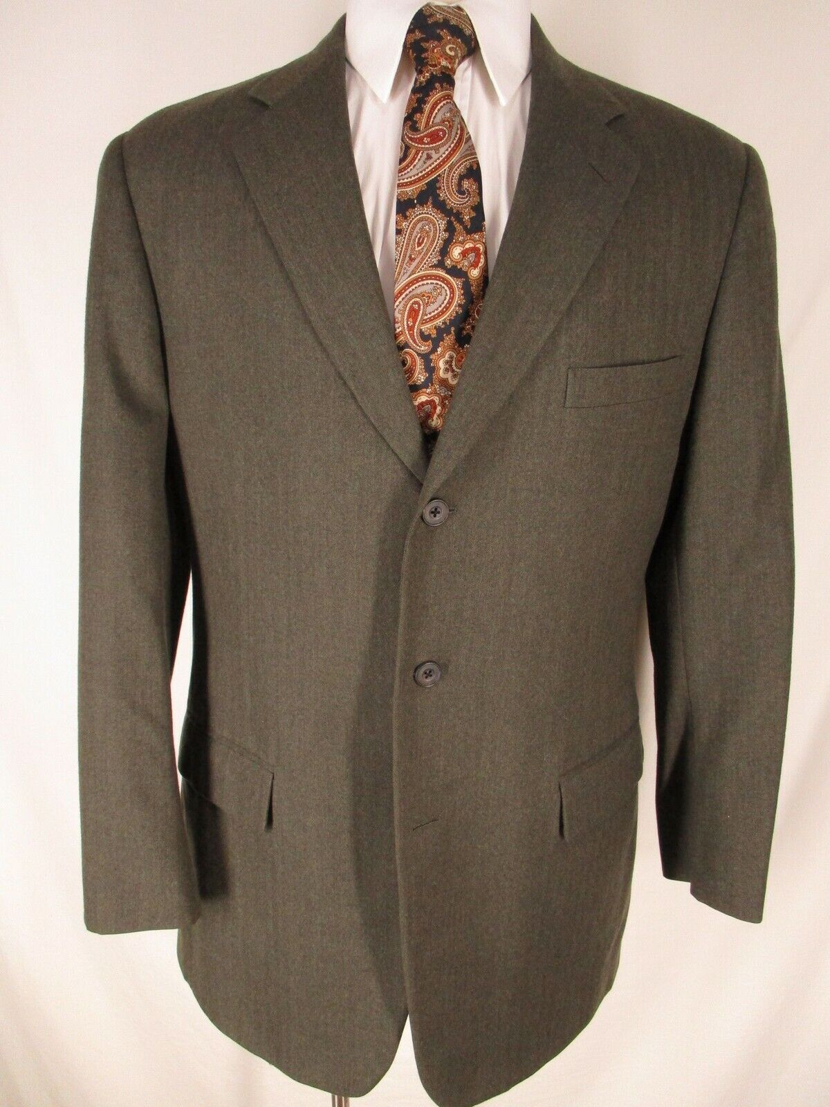 Paul Stuart Westgate Mens Olive Herringbone 3 Btn Sport Coat 43L USA Made