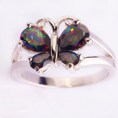 Stunning Pear Cut Butterfly Rainbow Sapphire Gemstone Silver Ring Sz L N P R T V