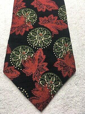 Claiborne Cravatta Uomo Verde Rosso Nero Giallo 4 X 57