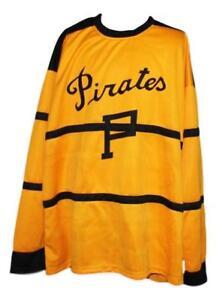 Any Name Number Size Pittsburgh Pirates Retro Custom Hockey Jersey Yellow