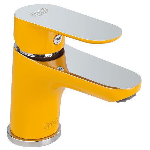 Waschtischarmatur Einhebelmischer gelb / chrom mit Ablaufgarnitur DVGW SVGW