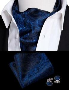 UK Mens Cravats Ascot Blue Silk Paisley Cravat Set Ascot Scarf Tie Vintage    eBay