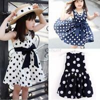 Kids Girls Chiffon Dress Toddler Sleeveless Polka Dots Bowknot Summer Dress 2-7T
