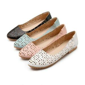 b90b7dc555b Sweet Casual Womens Flat Heel Boat Loafers Slip On Hollow Out Roma ...