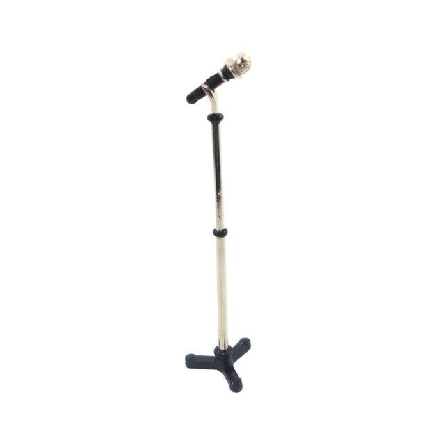 1//12 Miniature Microphone with Adjustable Stand for Dollhouse Decoration