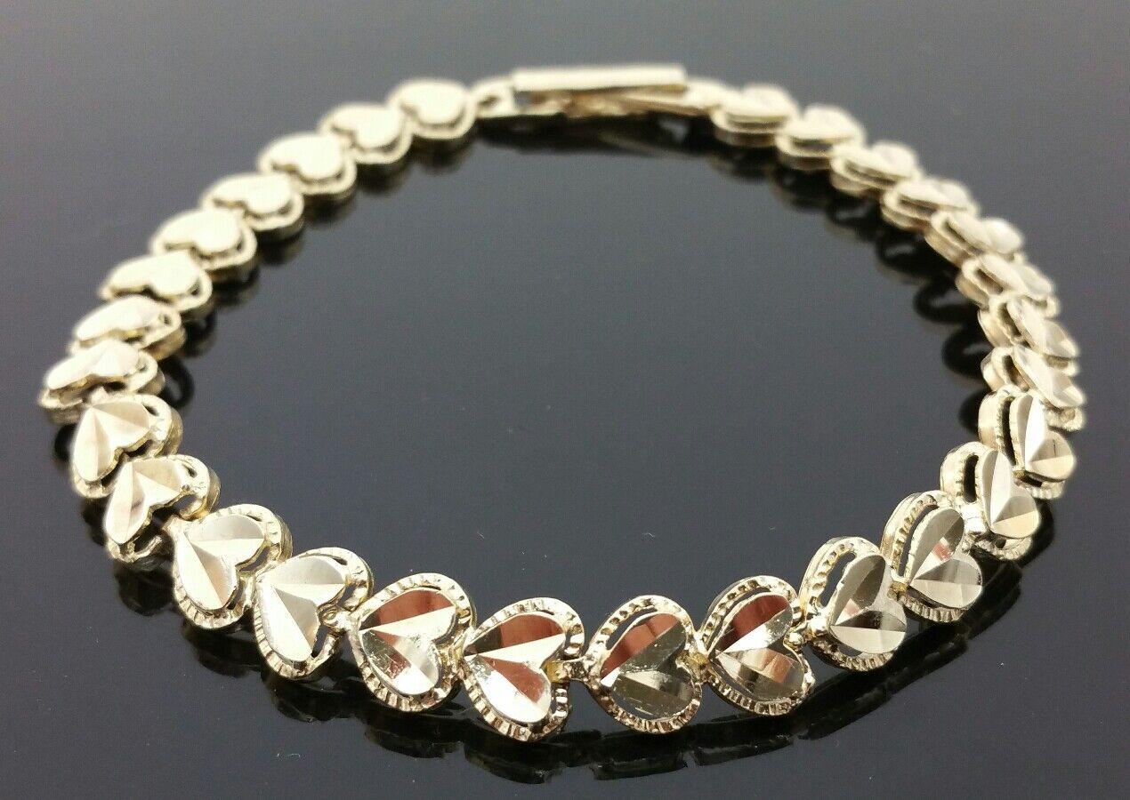 Solid 10 Karat Yellow gold Diamond Cut Heart Link Adjustable 7 - 7.5  Bracelet