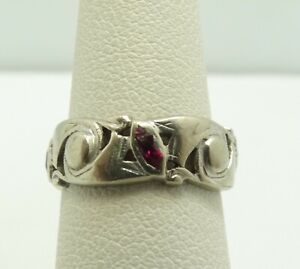 14K-White-Gold-Marquise-Ruby-Eternity-Ring-Size-4-5-6-2mm-3-3-Grams-M617
