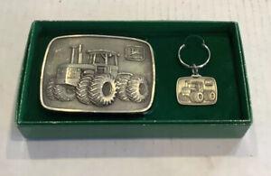Vintage 1975 John Deere 4WD Belt Buckle Key Chain SET in original green box