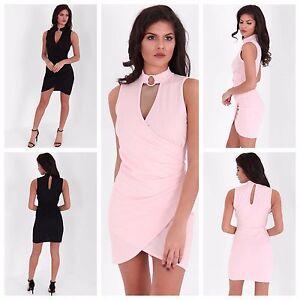 Womens-Choker-V-Neck-Cross-Wrap-Over-Evening-Short-Mini-Bodycon-Party-Dress-8-14