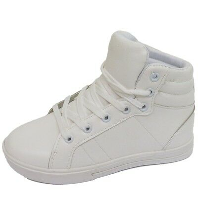 KIDS GIRLS BOYS WHITE HI-TOP LACE-UP TRAINERS FLAT BOOTS SCHOOL SHOES SIZES 10-5