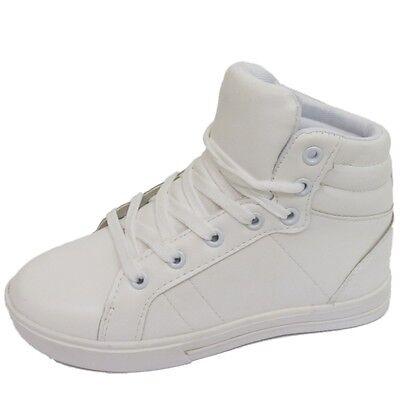 Niñas NIÑOS NIÑOS Blanco Hi-top cordones Zapatillas Botas Planas Zapatos Escolares Tamaños 10-5