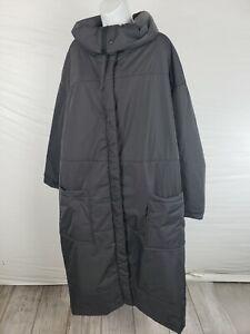 NWT $550 Grizas Long Gray XXXL Jacket Zip Up w/ Side zip cowl Neck 3XL Women's